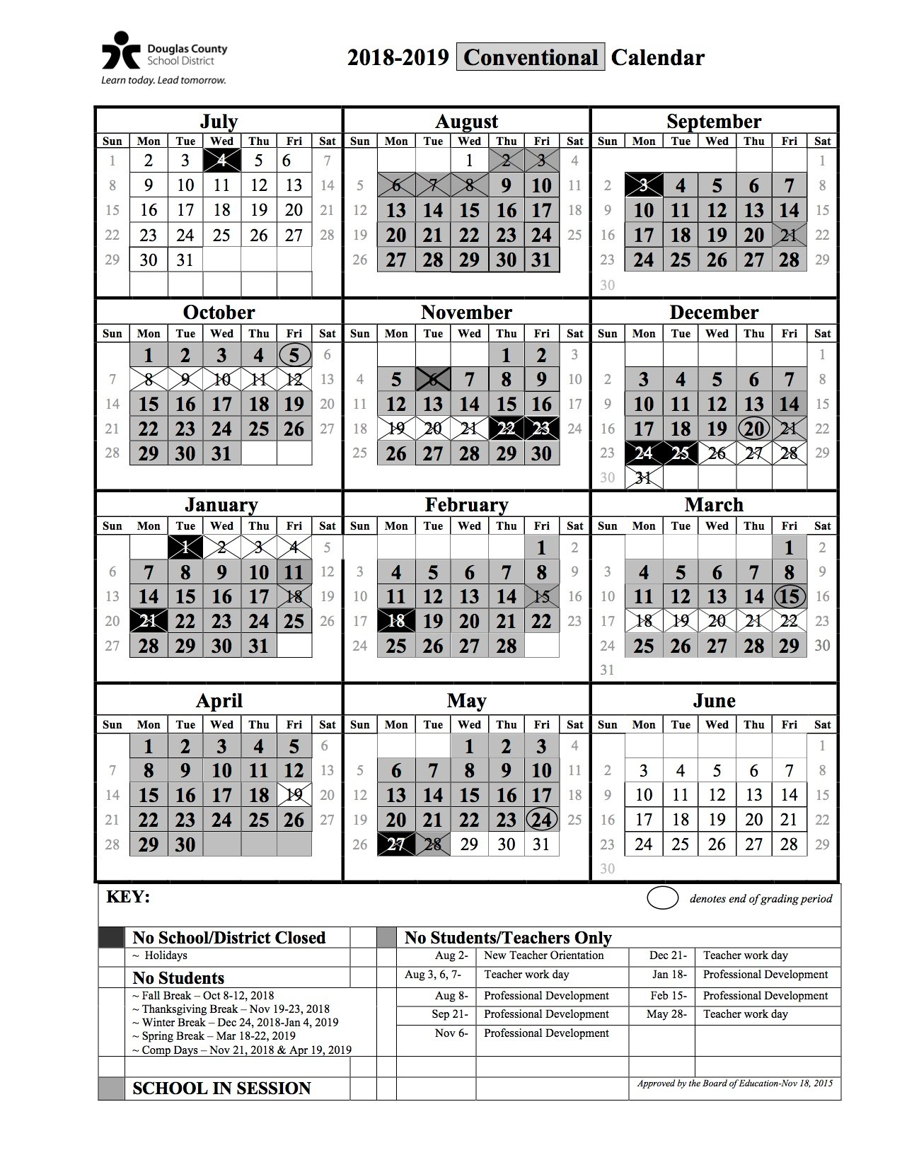 Day Of Year Calendar 2019 18 19 school year calendar   Mountain Ridge Middle School