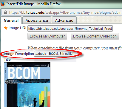 The alt text, textbook - BCOM 6th edition, is added in the Image Description box in the Blackboard Insert/Edit Image window.