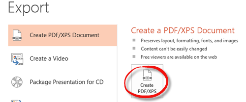click the create pdf button in the Export area of the File tab