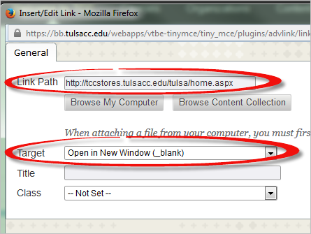 The URL is entered in the Link Path box.  The Target drop-down menu is changed to Open in New Window.