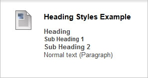 Example of the 3 built-in heading styles in Blackboard.