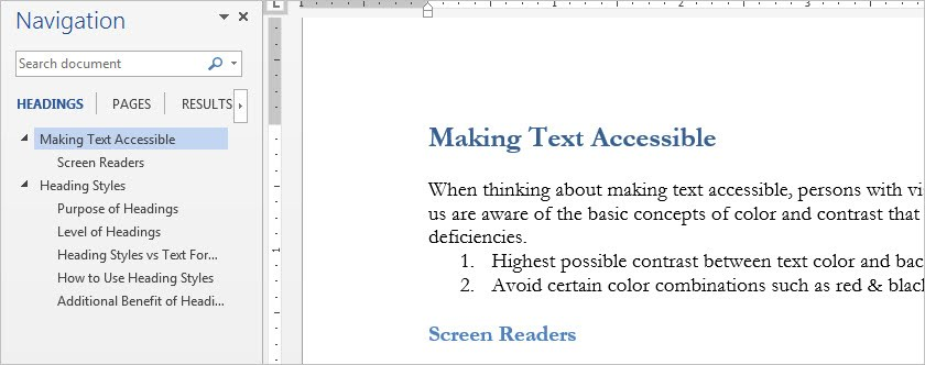 Word has a navigation pane that opens on the left of the document and links to each of the headings in the document.
