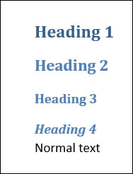 Example of the 4 built-in default heading styles in Microsoft Word 2010.