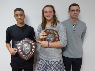 Jake Young (left), Philippa Davenall, and Rebort Garnham (previous holder of U15 800m record now help by Jake)