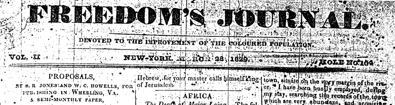 Freedom's Journal masthead