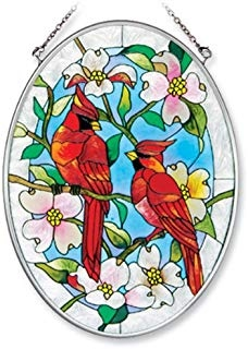 7-Inch by 5-1//4-Inch Oval Amia 5375 Suncatcher Featuring a Beach and Palm Tree Design Hand Painted Glass
