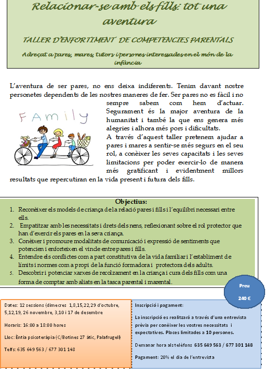 TALLER ENFORTIMENT COMPETÈNCIES PARENTALS