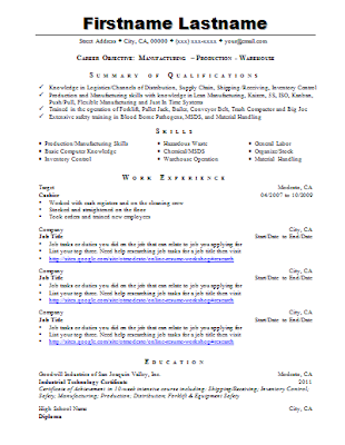 Industrial Technology Sample Resume 3