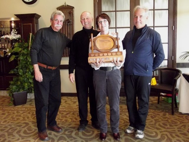 "2012 Town of Hudson ""A"" event winners with trophy"