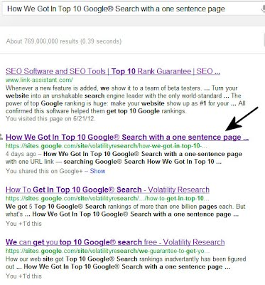 This one-sentence page got to Top 10 Google® Search in less than 4 days, #2 out of 769 million