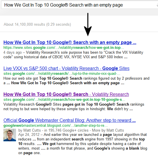 June 27, 3012 1 AM  This page was posted empty — nothing above, just title — June 25, 5 PM.   On June 27, 1 AM, this page was ranked #1 of 14 million pages on Google® Search searching the title How We Got In Top 10 Google® Search with an empty page.  That's less than 2 days to get to #1.  It's surprising that this #1 ranking could happen to a page with no content, and especially get ahead of Official Google Webmaster Central Blog. The title and sidebar links must, therefore, be important in Google® Search.   Here's the screenshot of Google® Search just now: