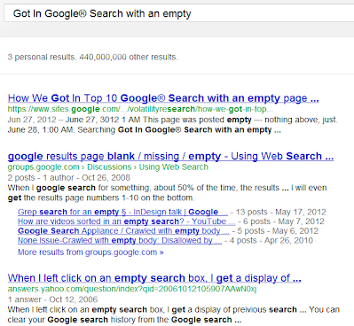 July 8, 2012  Today this page is ranked #1 of 440 million pages on Google® Search searching  Got In Google® Search with an empty