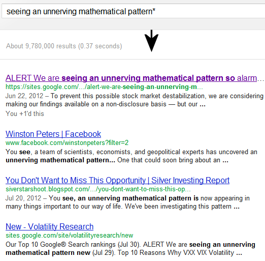 This page is ranked #1 of 9 million pages on Google® Search searching seeing an unnerving mathematical pattern* followed by one other of our pages ranked #4. This is just five days since this page was first up, July 26th.