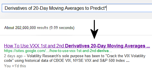 Since this page was first up 2 days ago, July 31, it is ranked #1 of 202 million pages on Google® Search searching Derivatives of 20-Day Moving Averages to Predict*