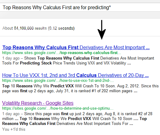 Aug 12, 2012  Since this page was first up 2 days ago, Aug 10, it is ranked #1 of 84 million pages on Google® Search searching Top Reasons Why Calculus First are for predicting* along with two other pages in #1-3.