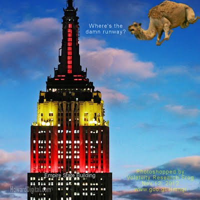 Clueless the Lost Flying Camel trying to land on top of the Empire State Building