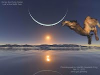Humpy the Lost Flying Camel at the North Pole under moon