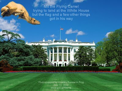 Mit the Flying Camel  trying to land at the White House but the flag and a few other things got in his way Photoshopped by Volatility Research Frog Nov 13, 2012