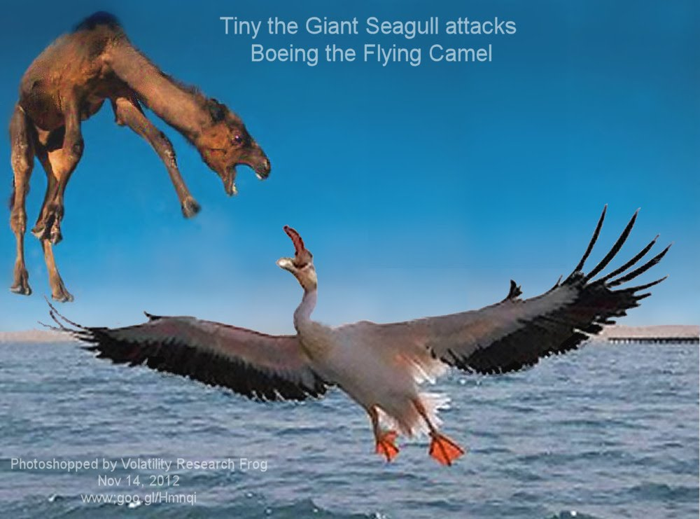 Tiny the Giant Seagull attacks Boeing the Flying Camel Photoshopped by Volatility Research Frog Nov 14, 2012