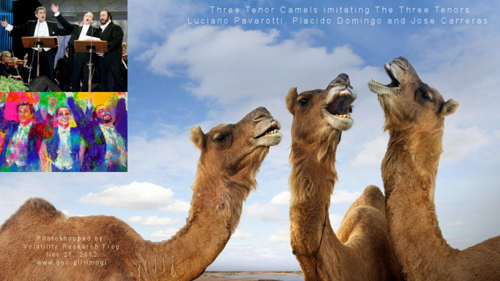 Three Tenor Camels imitating  The Three Tenors Luciano Pavarotti, Pláacido Domingo and Jose Carreras