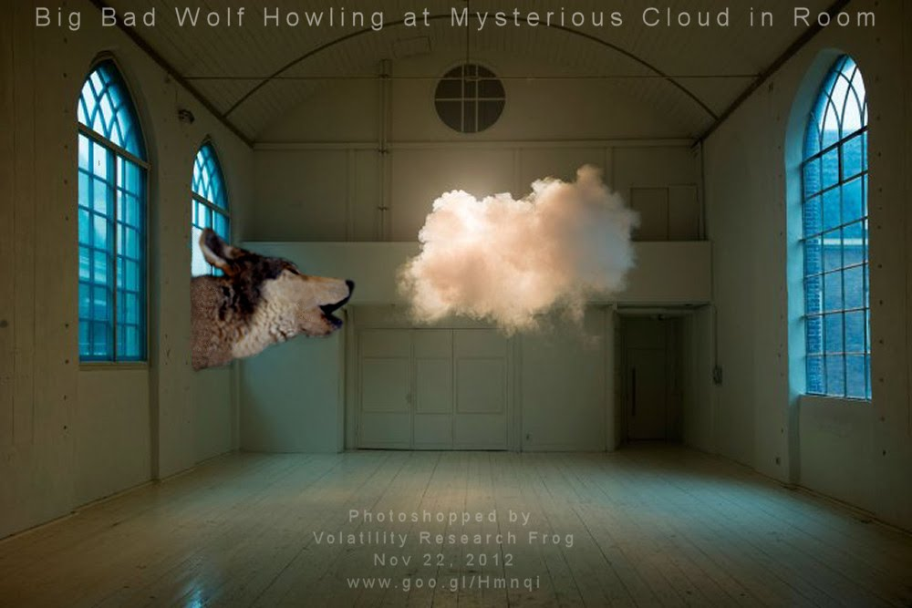 Big Bad Wolf Howling at Mysterious Cloud in Room