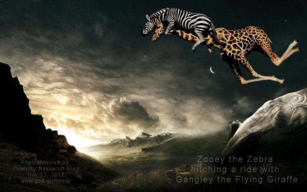 Zooey the Zebra hitching a ride with Gangley the Flying Giraffe
