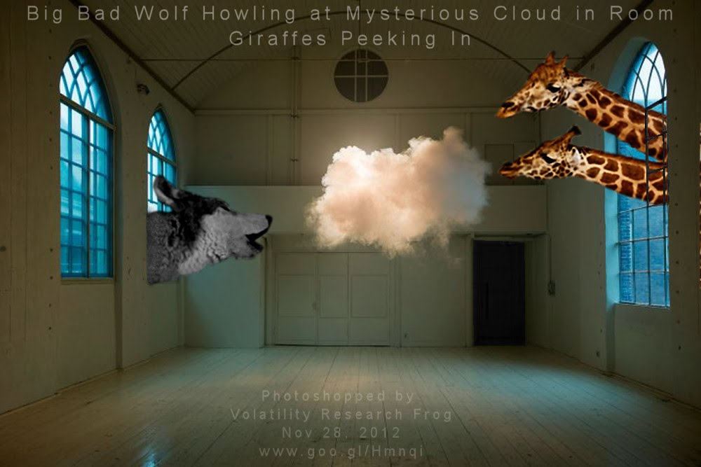 Big Bad Wolf Howling at Mysterious Cloud in Room Giraffes Peeking In