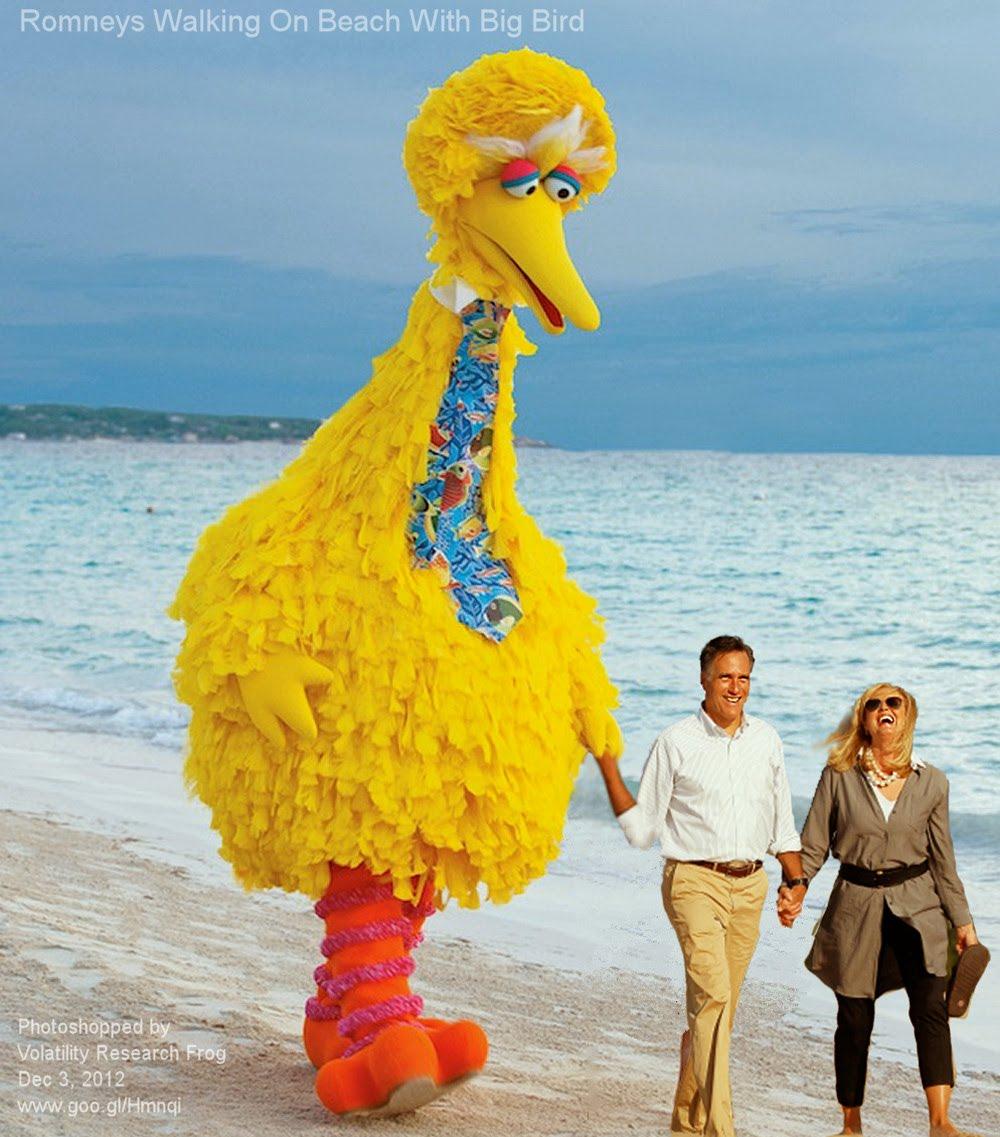 Dec 3, 2012  Romneys Walking On Beach With Big Bird   Photoshopped by Volatility Research Frog  Dec 3, 2012  www.goo.gl/Hmnqi