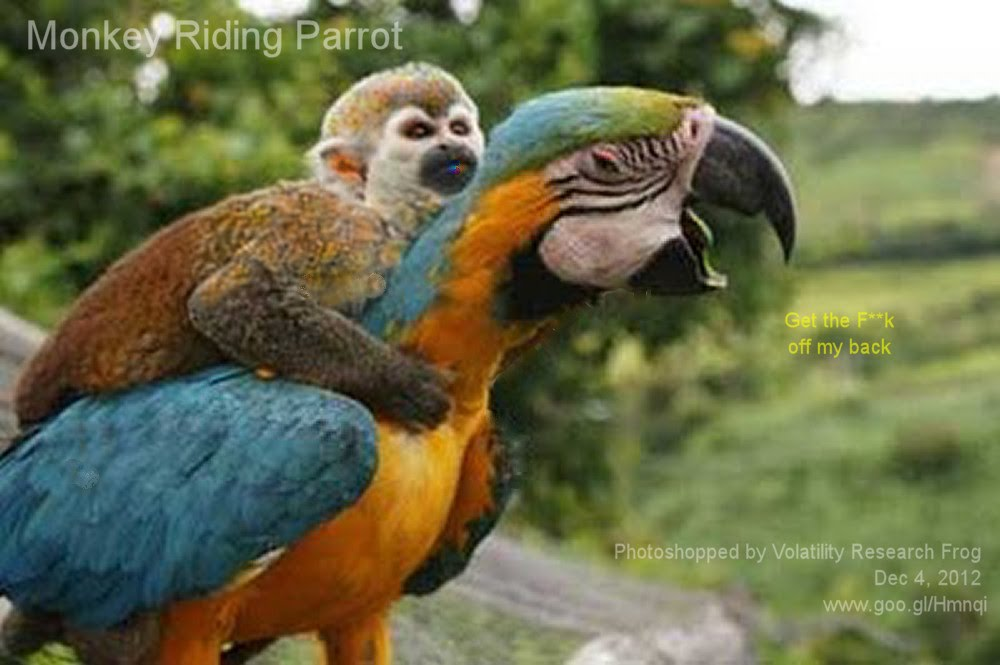 Dec 4, 2012  Monkey Riding Parrot   Photoshopped by Volatility Research Frog  Dec 4, 2012  www.goo.gl/Hmnqi