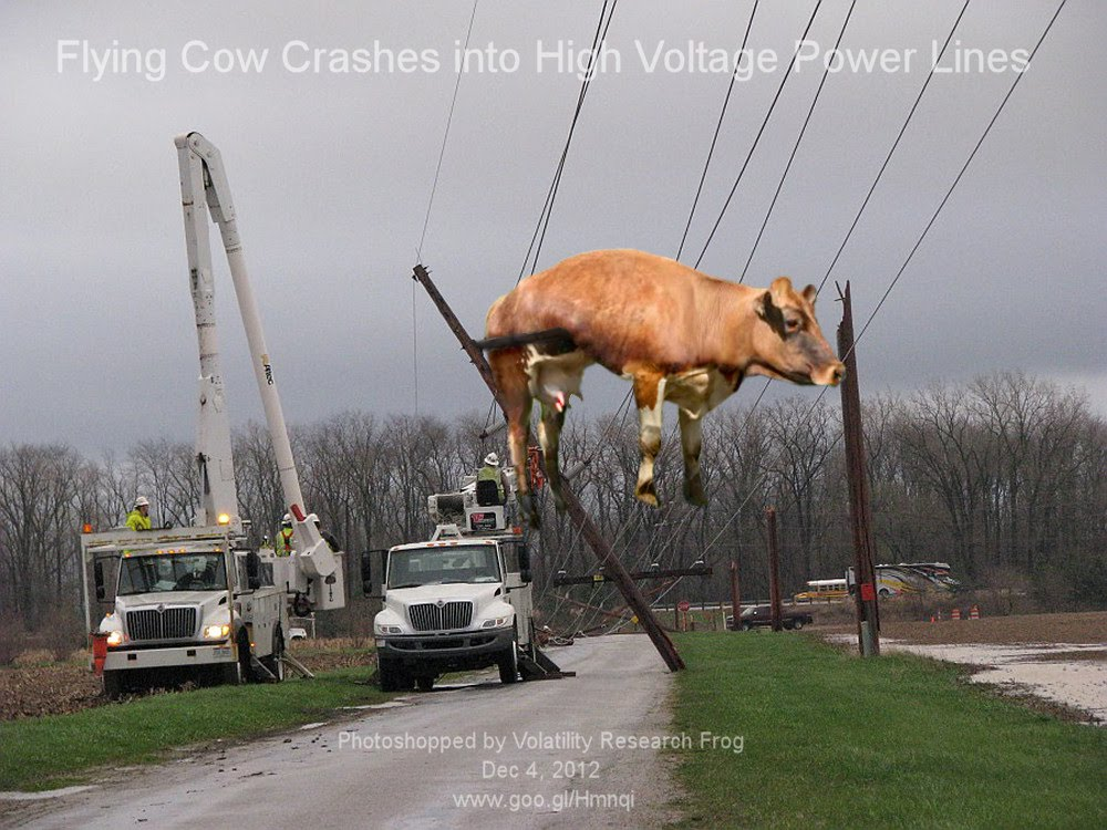 Dec 4, 2012  Flying Cow Crashes into High Voltage Power Lines     Photoshopped by Volatility Research Frog  Dec 4, 2012  www.goo.gl/Hmnqi