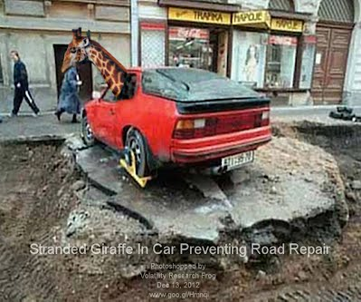 Dec 13, 2012  Stranded Giraffe In Car Preventing Road Repair
