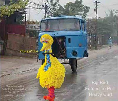 Dec 14, 2012  Big Bird Forced To Pull Heavy Cart