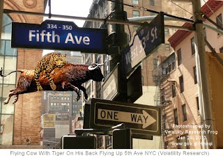 Flying Cow With Tiger On His Back Flying Up 5th Ave NYC (Volatility Research) 1000w