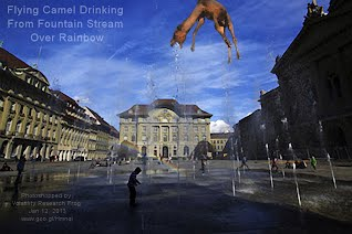 Flying Camel Drinking From Fountain Stream Over Rainbow (Volatility Research) 1000w.jpg