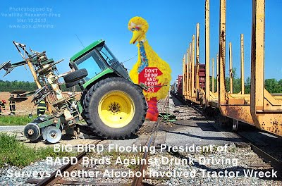 BIG BIRD Flocking President of BADD Birds Against Drunk Driving Surveys Another Alcohol Involved Tractor Wreck (Volatility Research) 1000w