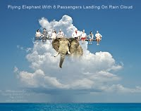 Flying Elephant With 8 Passengers Landing On Rain Cloud (Volatility Research) 1000w