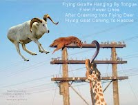 Flying Giraffe Hanging By Tongue From Power Lines After Crashing Into Flying Deer Flying Goat Coming To Rescue (Volatility Research) 1000w