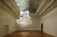 Puppy Flying Through Cloud in Room
