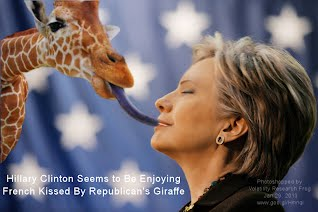 Hillary Clinton Seems to Be Enjoying French Kissed By Republicans Giraffe (Volatility Research) 1000w