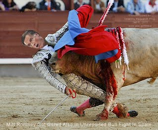 Mitt Romney Got Gored Also In Unreported Bull Fight In Spain (Volatility Research) 1000w