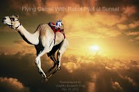 Flying Camel With Robot Pilot at Sunset