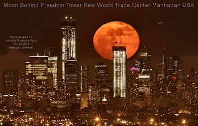 Moon Behind Freedom Tower New World Trade Center Manhattan USA (Volatility Research)
