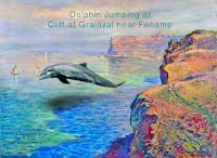 Dolphin Jumping at Cliff at Grainval near Fecamp 1000w