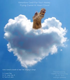 Valentine Card For Your Honey Flying Camel In Heart Cloud (Volatility Research) 1000w