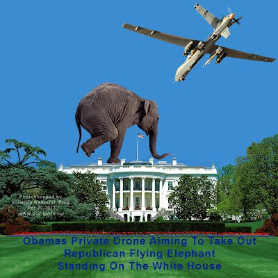 Obamas Private Drone Aiming To Take Out Republican Flying Elephant Standing On The White House (Volatility Research) 1000w