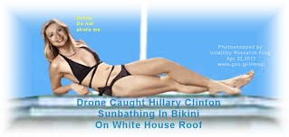 Drone Caught Hillary Clinton (enlarged) Sunbathing In Bikini On White House Roof After Full Body Tuck  (Volatility Research) 1000w