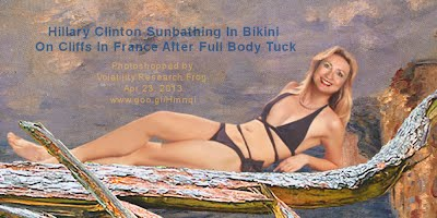 Hillary Clinton Sunbathing In Bikini On Cliffs In France After Full Body Tuck 2 (Volatility Research) 1000w2