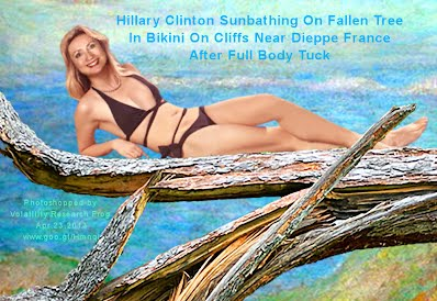 Hillary Clinton Sunbathing 2 On Fallen Tree In Bikini On Cliffs Near Dieppe France After Full Body Tuck (Volatility Research) 1000w2