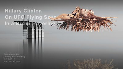 Hillary Clinton On UFO Flying Saucer In a Bikini Hovering Over Water (Volatility Research) 1000w