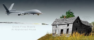 Drone Fires Missile At Abandoned House (Volatility Research) 1000h
